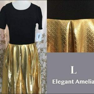 LulaRoe Large Black and Gold Foil Elegant Amelia